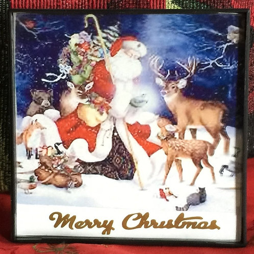 SANTA CLAUS small framed picture on the glass