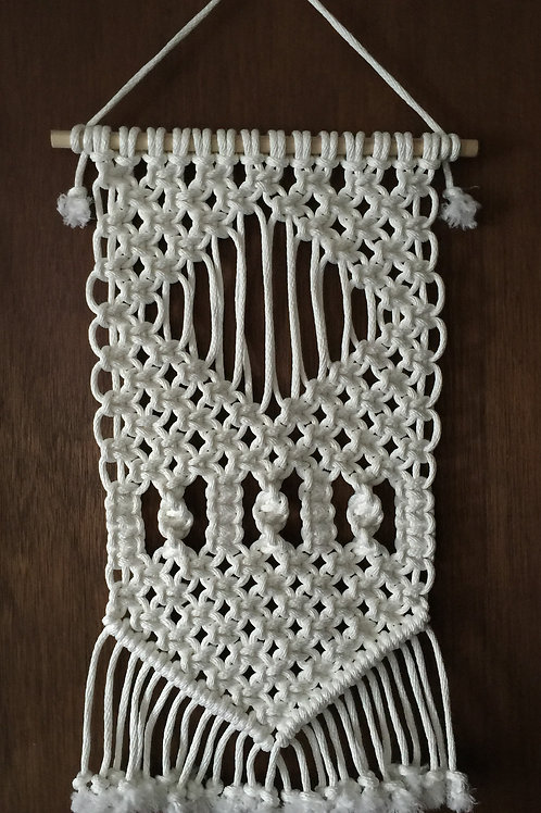 MACRAME WALL HANGING 17, white, synthetic