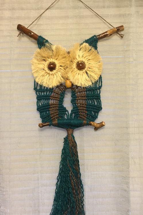 OWL #62 Macrame Wall Hanging, natural colored jute, sisal