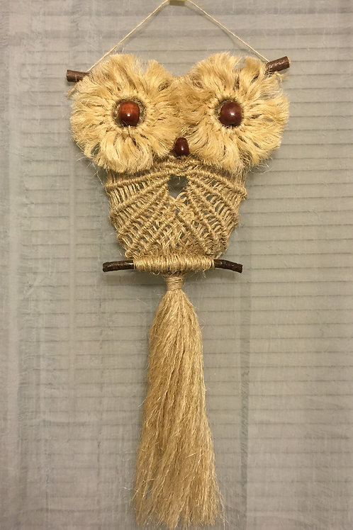 OWL #30 Macrame Wall Hanging, natural, sisal