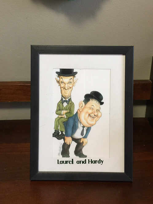 LAUREL and HARDY Caricature Mixed Media Picture