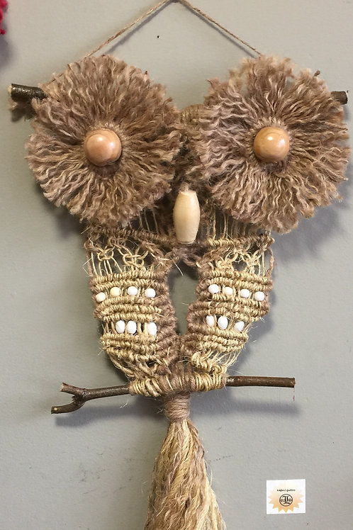 OWL #182 Macrame Wall Hanging, natural sisal and jute, macrame owl