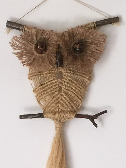 OWL #168 Macrame Wall Hanging, natural jute, macrame owl