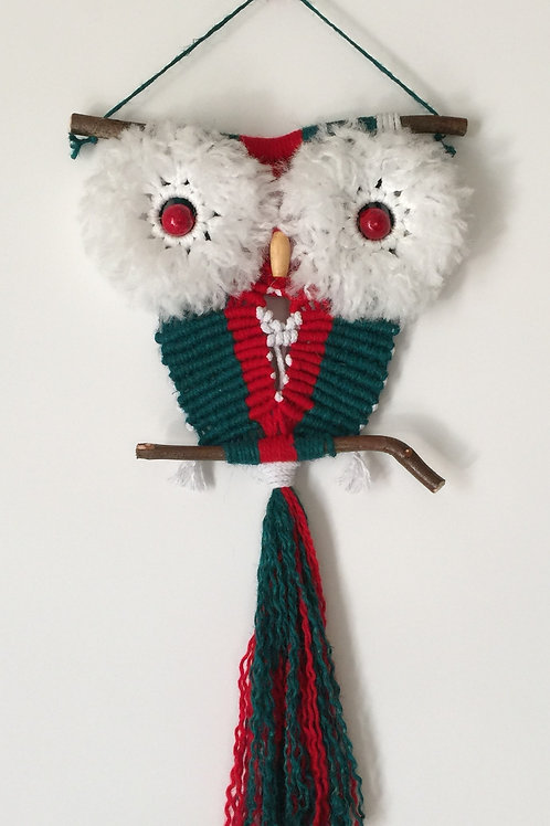 OWL #83 Macrame Wall Hanging, natural jute, acrylic, cotton
