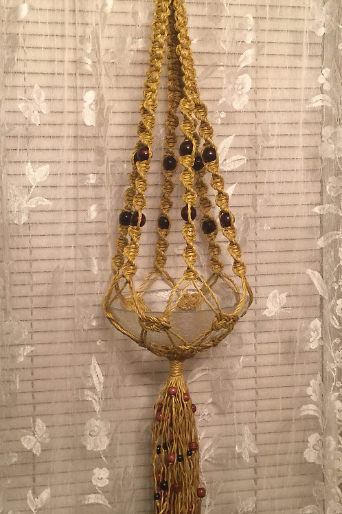 MACRAME PLANT HANGER 3by6 arms, single, yellow