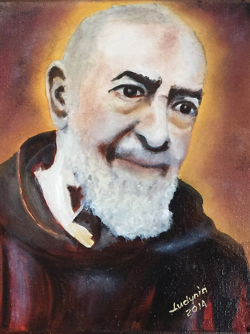 PADRE PIO original oil painting on stretched canvas