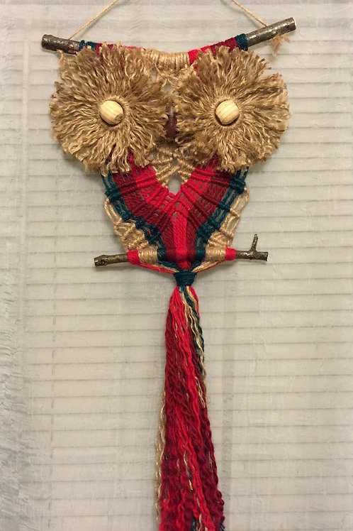 OWL #66 Macrame Wall Hanging, natural and colored jute, acrylic
