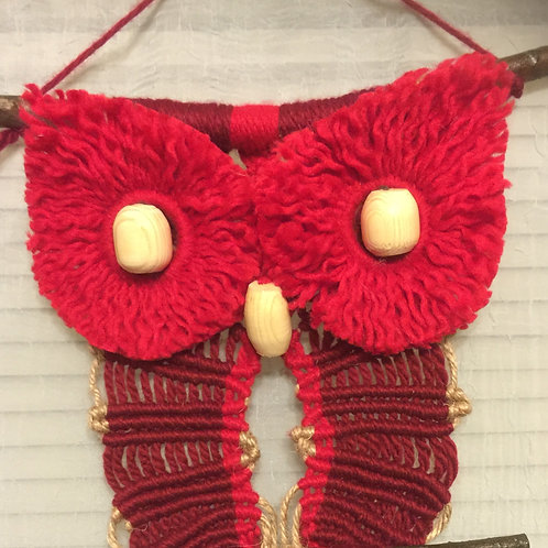 OWL #54 Macrame Wall Hanging, acrylic, jute accent