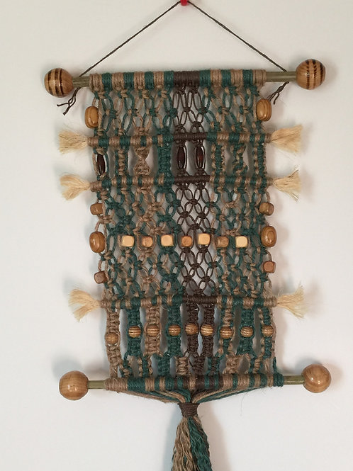 MACRAME WALL HANGING #54 natural and colored jute, bamboo dowels, wood b