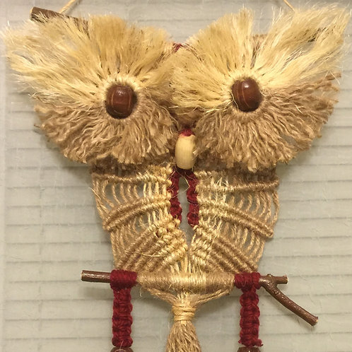 OWL #64 Macrame Wall Hanging, natural jute and sisal, acrylic