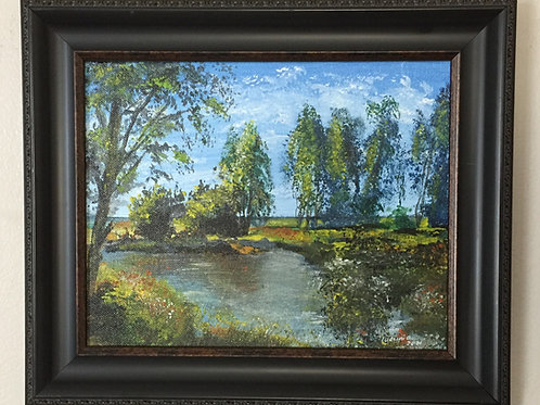 """GREEN TREES original acrylic painting on canvas panel 8""""x10"""", framed"""