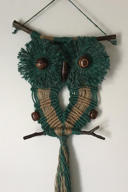 OWL #147 Macrame Wall Hanging, natural, colored jute, macrame owl
