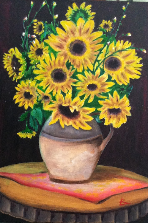 "SUNFLOWERS (1) oil painting on canvas, 16"" x 20"", framed"