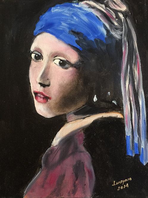 """GIRL WITH A PEARL EARRING (40) original oil painting 11""""x 14"""""""
