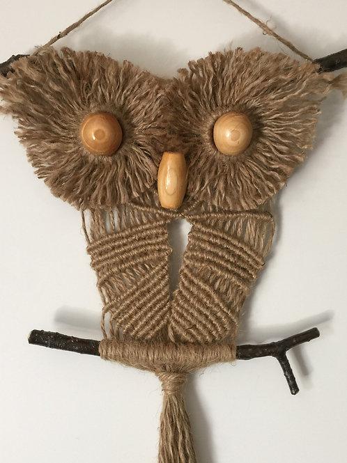OWL #124 Macrame Wall Hanging, natural jute, macrame owl