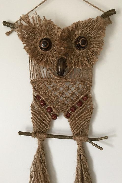OWL #119 Macrame Wall Hanging, natural jute, macrame owl