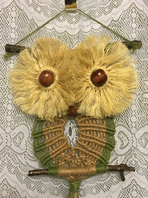 OWL #38 Macrame Wall Hanging, colored jute, sisal