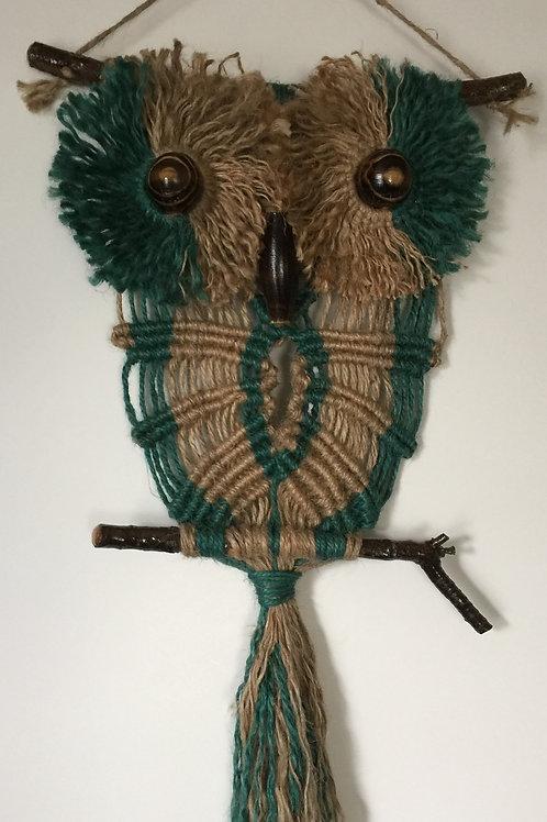 OWL #148 Macrame Wall Hanging, natural, colored jute, macrame owl