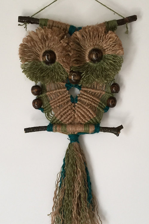 OWL #92 Macrame Wall Hanging, natural and colored jute
