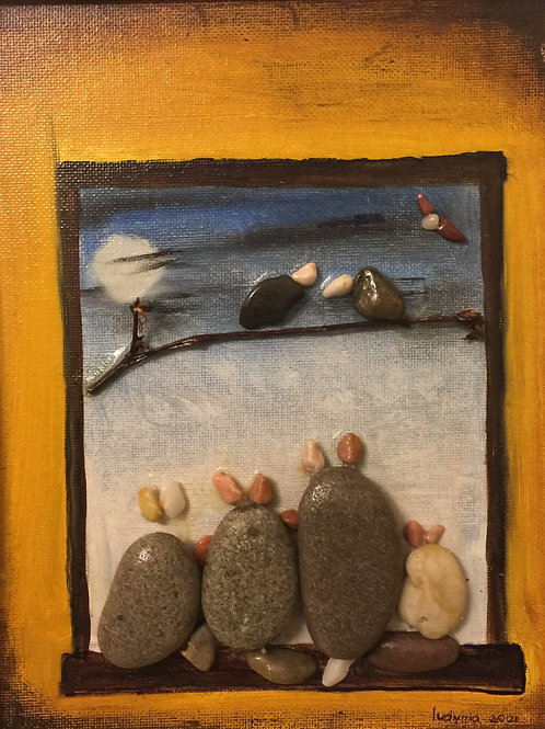 WINDOW Pebble Art (4) collage, 3D picture,