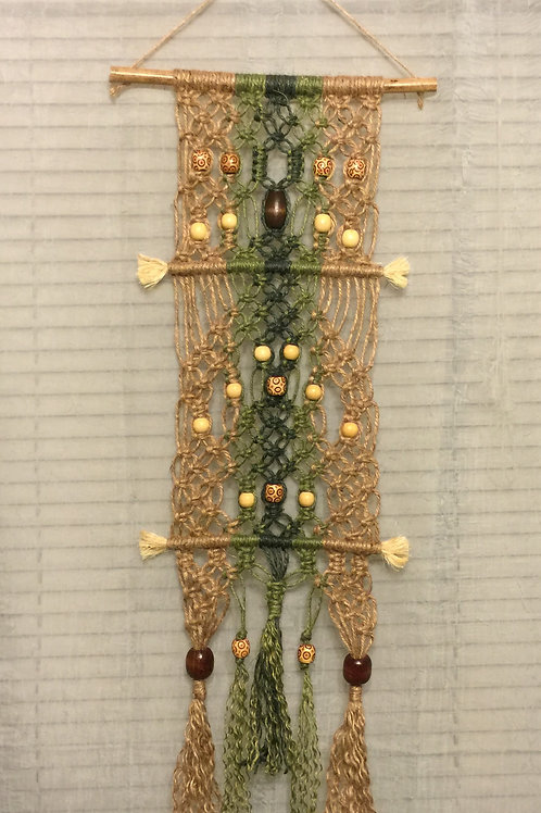 MACRAME WALL HANGING 38, jute and sisal accent