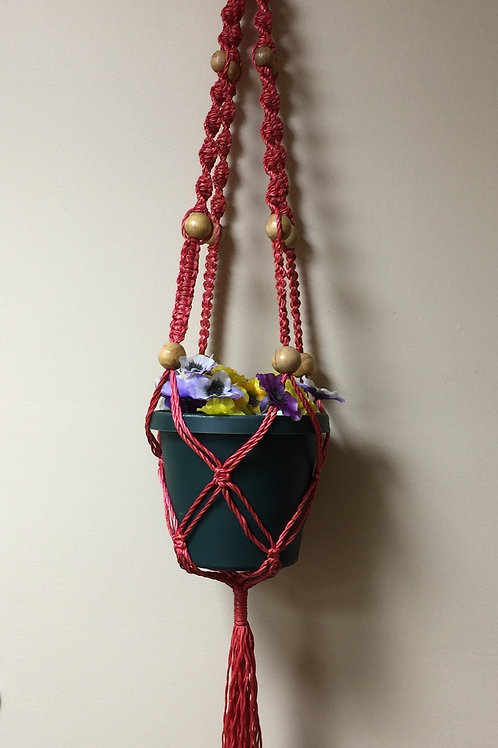 MACRAME PLANT HANGER 41 single, red, 4 arms, wood beads