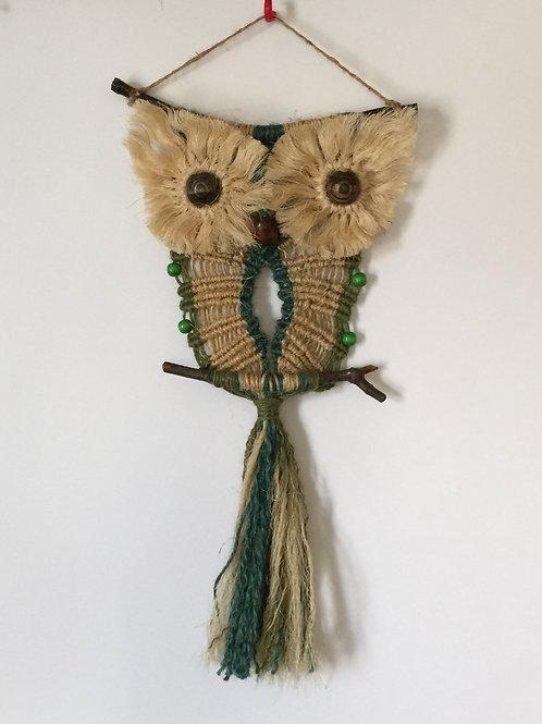 OWL #101 Macrame Wall Hanging, natural jute, sisal