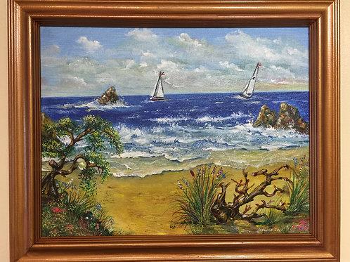 "COAST original acrylic painting on canvas panel, 11""x14"", framed"