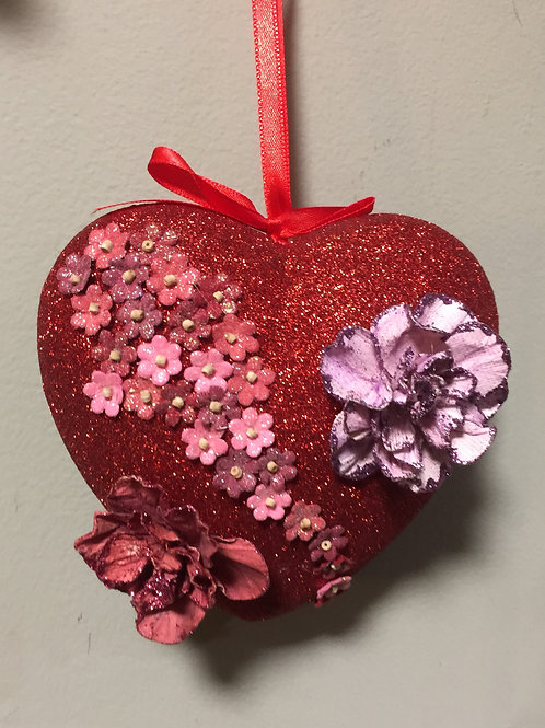 RED GLITTER HEART with small flowers for your VALENTINE