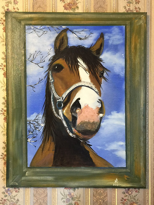 """HEAD OF THE HORSE oil painting on canvas, 16""""x20"""""""