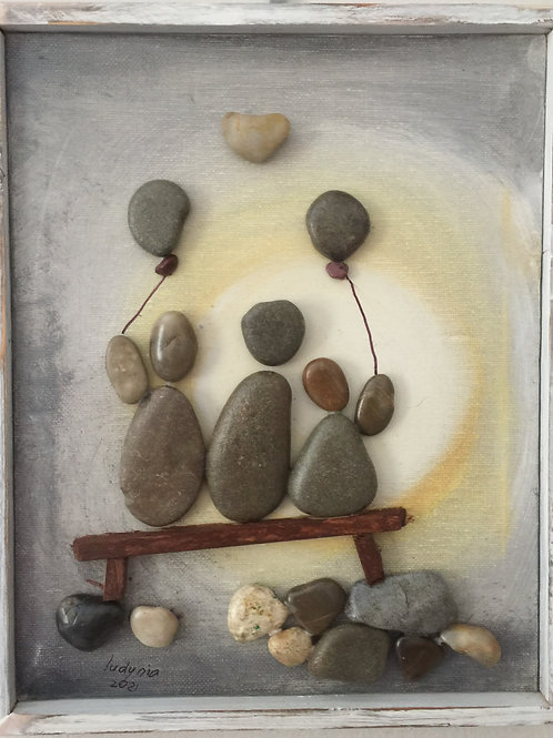 ON THE BENCH Pebble Art (8) collage, 3D picture,