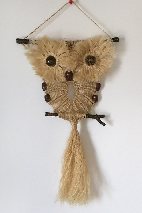 OWL #99 Macrame Wall Hanging, natural sisal, small macrame