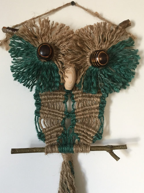 OWL #188 Macrame Wall Hanging, natural, colored jute, macrame owl