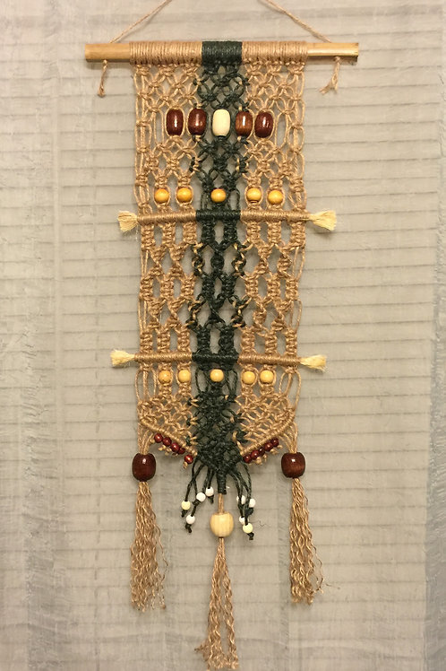 MACRAME WALL HANGING 29, jute and sisal accent
