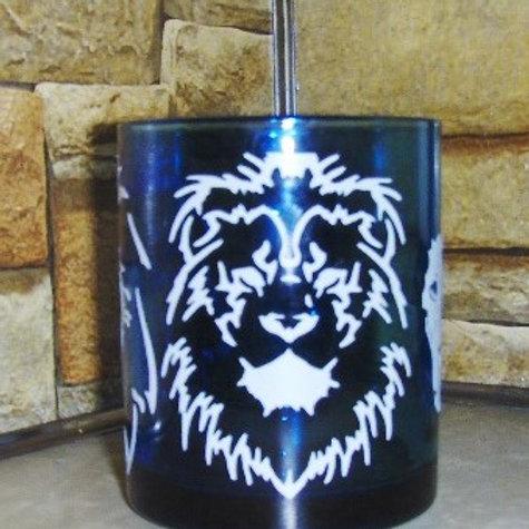 LION Decorated Glass Mug