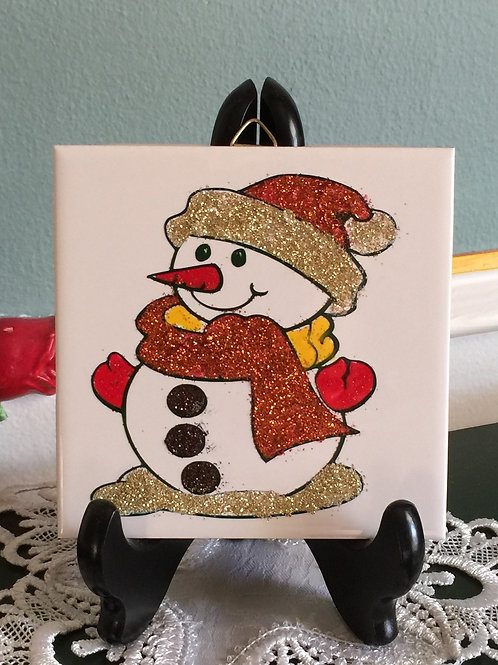 "SNOWMAN Decorated Tile 4""x4"", Chrsitmas Decoration"