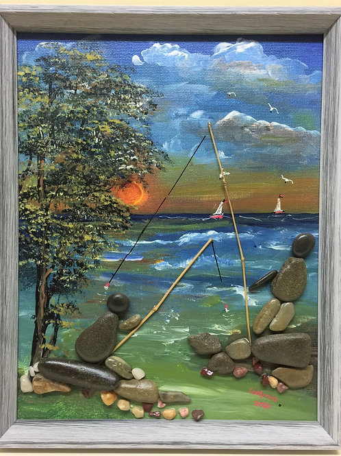 FISHING AT SUNSET Pebble Art (20) collage, 3D picture,