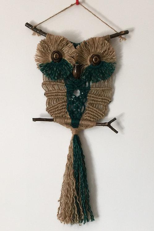 OWL #125 Macrame Wall Hanging, natural jute, macrame owl