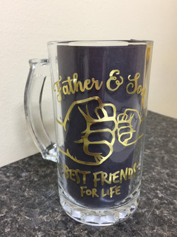 FATHER & SON (57), Decorated Glass Mug, Gift for Dad