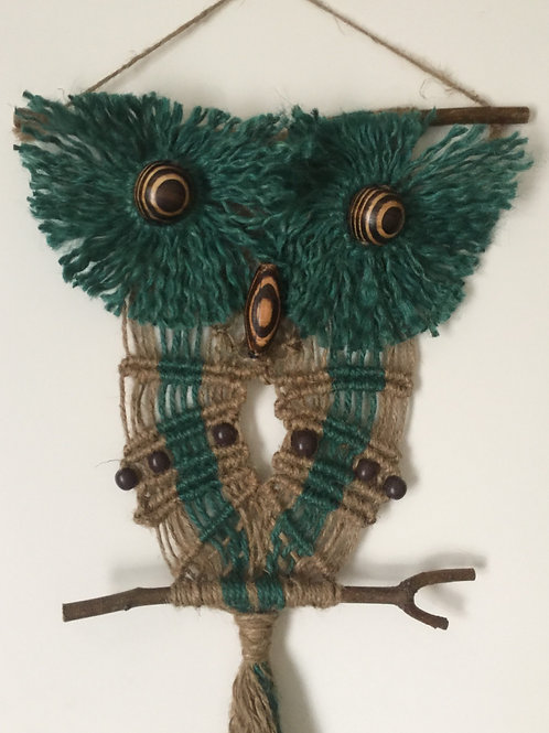 OWL #183 Macrame Wall Hanging, natural, colored jute, macrame owl