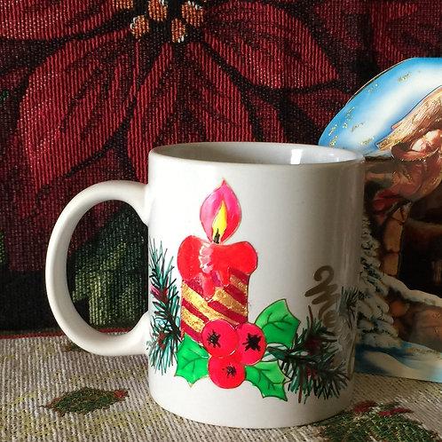 CHRISTMAS CANDLE Hand-decorated Coffee Mug