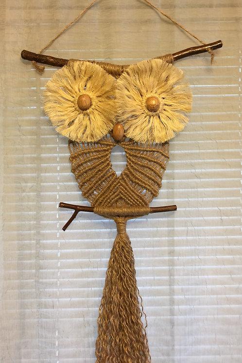 OWL #73 Macrame Wall Hanging, natural jute, sisal, small macrame