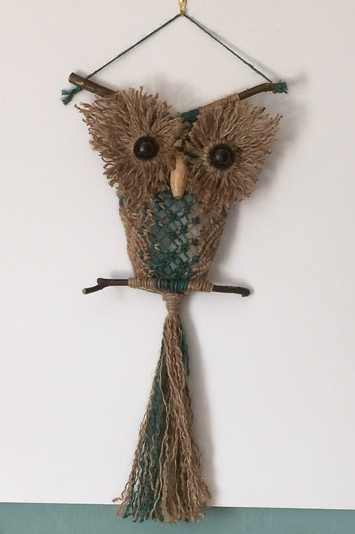 OWL #162 Macrame Wall Hanging, natural, colored jute, macrame owl