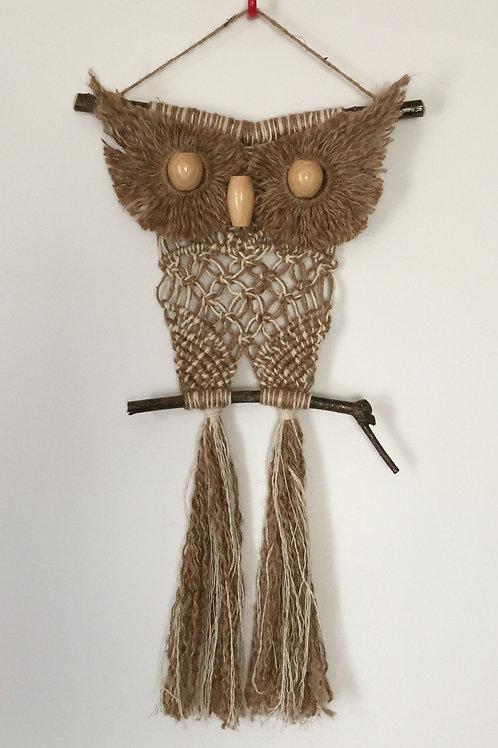 OWL #116 Macrame Wall Hanging, natural jute, macrame owl