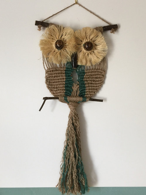 OWL #158 Macrame Wall Hanging, natural, colored jute, macrame owl
