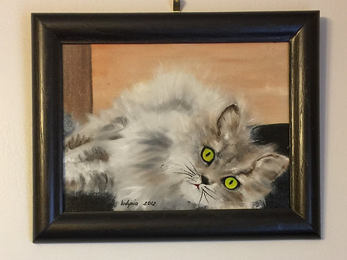 LYING CAT (128) original oil painting on canvas, 9 x 12