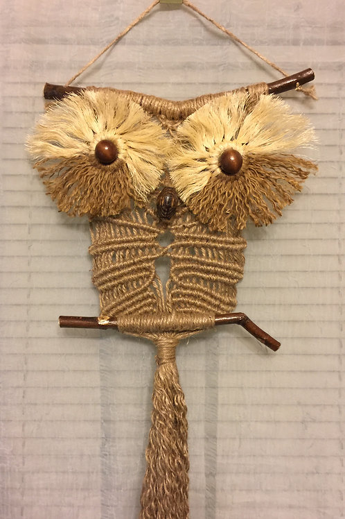 OWL #81 Macrame Wall Hanging, natural jute, sisal