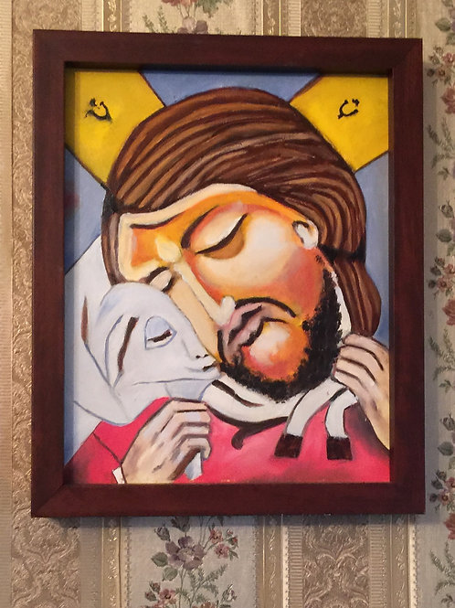JESUS WITH A LAMB original oil painting on canvas