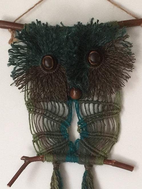OWL 60 Macrame Wall Hanging, colored jute