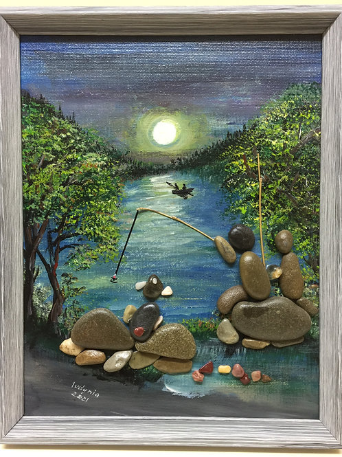 FISHING: Father, Son & Dog, Pebble Art (18) collage, 3D picture,